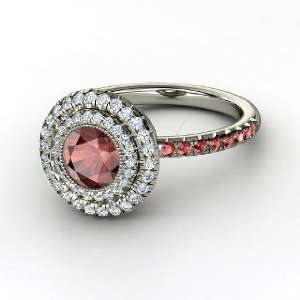 Natalie Ring, Round Red Garnet 14K White Gold Ring with Diamond & Red