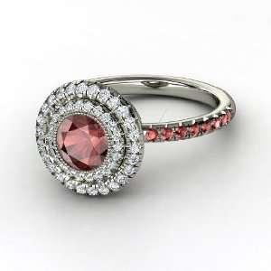Natalie Ring, Round Red Garnet 14K White Gold Ring with Diamond & Red