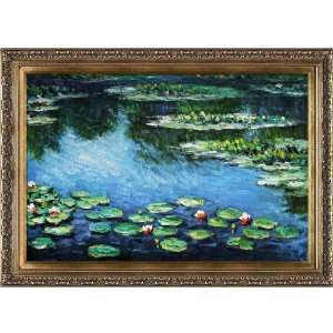 Art Monet Water Lilies Painting with Baroque Wood Frame