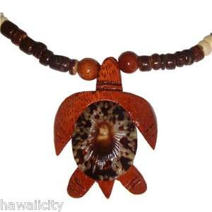 Hawaiian Opihi Shell Koa Wood Honu Turtle Coconut Bead Necklace from