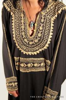 Embroidered MOROCCAN Gypsy Hippie CAFTAN Maxi Dress S/M/L
