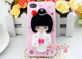 White Kimono Girl Mirror Moppet Diamond Crystal Hard Case Cover For
