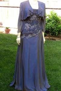 NWOT SZ 14 RINA DI MONTELLA SILK 2 PIECE DRESS GOWN MOTHER OF BRIDE