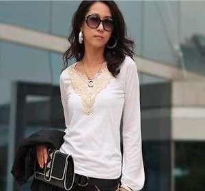 WOMANS NEW KOREAN FASHION V NECK LONG SLEEVE T SHIRT