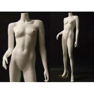 (MD A5BW2) Headless Female Mannequin Matte White Fiber