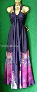 New KAREN MILLEN Purple Floral Print Maxi Dress Uk 8 16