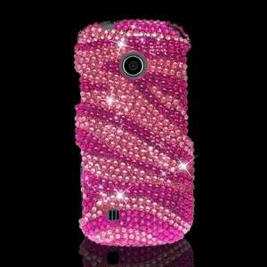 LG Beacon/Cosmos Touch Pink Zebra Diamond Crystal Bling Case Mobile