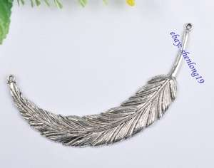 feather Connector Tibetan Silver jewelry crafts Charms findings SH820