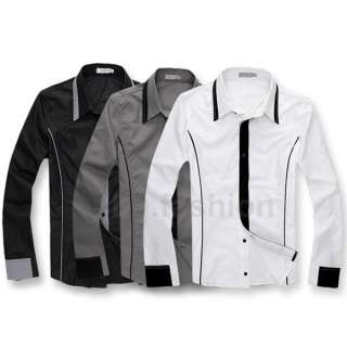 Fashion Mens Casual Shirt Slim Fit Long Sleeve Dress Shirts 3 Colors