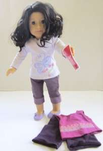 MY American Girl JUST LIKE YOU DOLL BLACK HAIR GREEN EYES JLY OUTFIT
