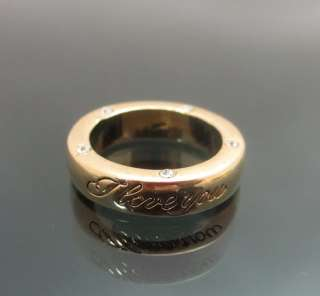 Vintage Gold GP I Love You Engraved Ring Clear Swarovski Crystals