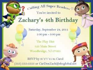 Knit jonesjanuary 2009 birthday party ideas super birthday party on super why invitations birthday party supplies filmwisefo