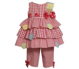 Bonnie Jean Baby Girls Spring Summer Ice Cream Seersucker Capri Dress