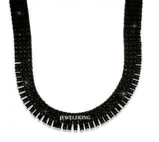 ROW ICED OUT BLACK HIP HOP BLING CHAIN NECKLACE