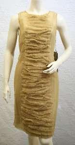 528 BCBG MAX AZRIA MUSTARD SLEEVELESS DRESS NWT XS