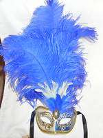 BLUE WHITE GOLD FEATHER VENETIAN MASQUERADE BALL MASK MARDI GRAS PARTY