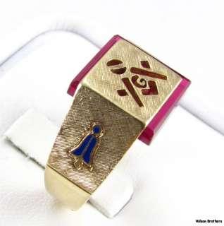 Red Stone Cut Out MASONIC   14k Solid Gold Mason Symbol 14.2 Gram Ring