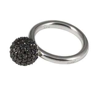 Merii Sterling Silver Black Cubic Zirconia Ball Ring