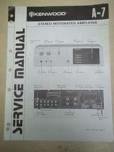 Kenwood Service/Repair Manual~A 7 Integrated Amplifier~Original