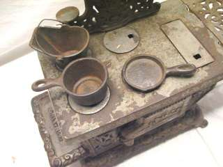 CAST IRON EAGLE TOY STOVE RANGE W/ POT PAN & BUCKET