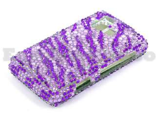 Crystal Bling Case Cover LG VX9700 Dare Purple Zebra
