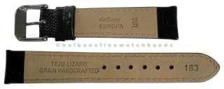 16mm Teju Lizard Grain Black Leather deBeer Mens Watch Band Strap