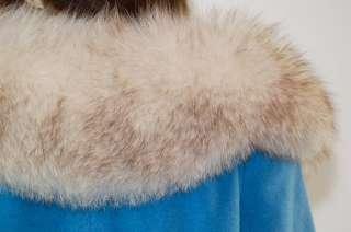 vtg 60s HUGE ARCTIC FOX FUR COLLAR wool SWING mod dress cape TENT coat
