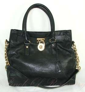 Michael Kors Hamilton Lock Leather N/S Tote Bag Purse Black