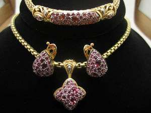JOHN HARDY GOLD PINK SAPPHIRE BRACELET EARRINGS PENDANT