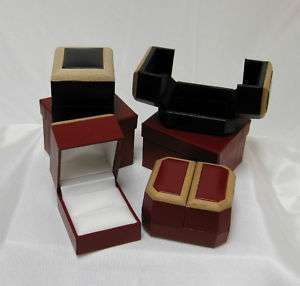 Beautiful Leatherette Ring Boxes with Natural Wood Trim
