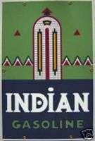 INDIAN GASOLINE GAS PUMP PORCELAIN COATED SIGN S