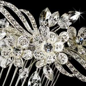 Crystals Encrusted Floral Bridal Hair Comb