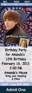 Justin Bieber Personalized Birthday Invitations Custom