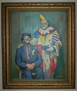 TRACY c.1954 OIL PAINTING OF CLOWNS HARRY DAN & EMMETT KELLY (K17