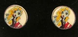 Monster High Dolls Lagoona Blue Surf Girl Stud Earrings Handmade