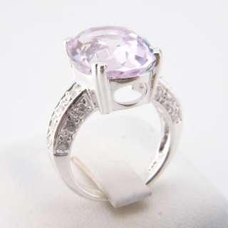 Genuine Pink Kunzite White Cubic Zirconia Silver Ring