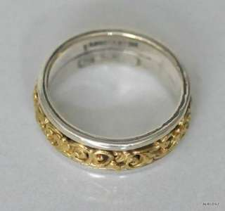 New KONSTANTINO Womens Slim Sterling Silver 18K Gold Floral Band Ring