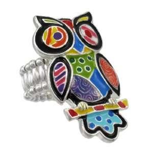 Chrome Finish Multicolor Enamel Owl Stretch Ring Jewelry