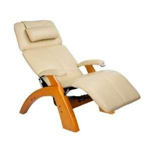 Silhouette Zero Gravity Recliner with Maple Base, Ivory Bonded Leather