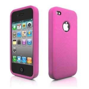 SILICONE SKIN CASE FOR iPhone 4 4Gs Pink SWIRLING DESIGN