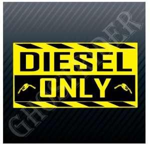 Diesel Only Yellow Gasoline Station Sign Fuel Pump Sticker