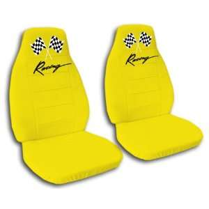 2 yellow racing car seat covers for a 2000 Honda Civic