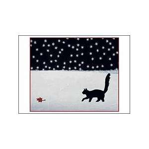Black Cat Chasing Leaf Christmas Cards: Office Products