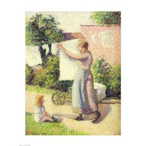 Woman Hanging up the Washing, 1887   Poster by Camille Pissarro