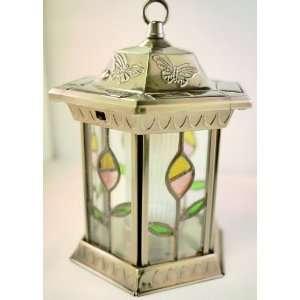 Homebrite Metal Solar Lantern Stained Glass Garden Landscape Lights
