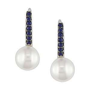14k White Gold Sapphire Cultured Pearl Earrings (8 9 mm