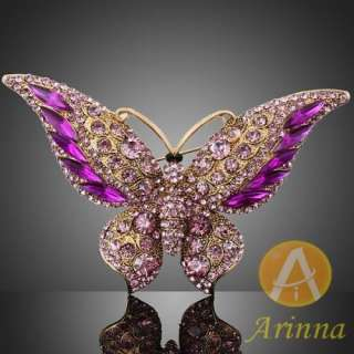 ARINNA butterfly light rose lady breast brooch pin gold plated