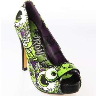 Iron Fist Oh No Womens Platforms High Heels Shoe Zombie Charcoal Lime