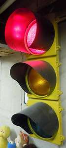 Vtg 4 Three Light Traffic Signal, Yellow & Black over Cast