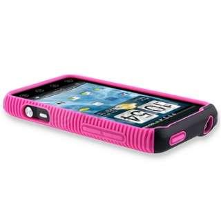 Black Pink Hybrid Dual Flex Hard Gel Case Cover For Sprint HTC EVO 3D